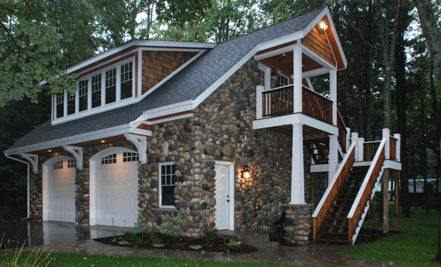 Fieldstone Carriage House Garage For Custom Lakefront Home